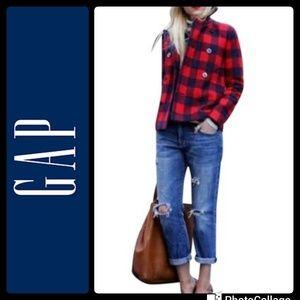 Gap Wool Buffalo Check Pea Coat